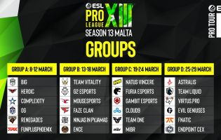 Her er gruppene til ESL Pro League Season 13